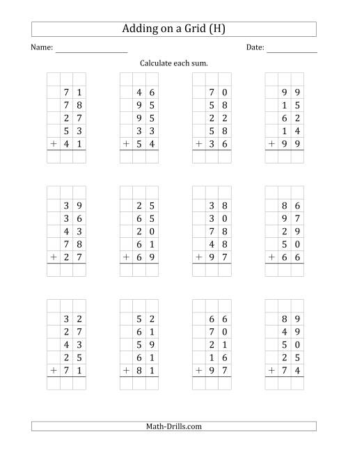 The Adding Five 2-Digit Numbers on a Grid (H) Math Worksheet