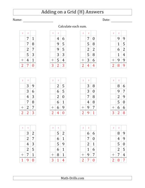 The Adding Five 2-Digit Numbers on a Grid (H) Math Worksheet Page 2