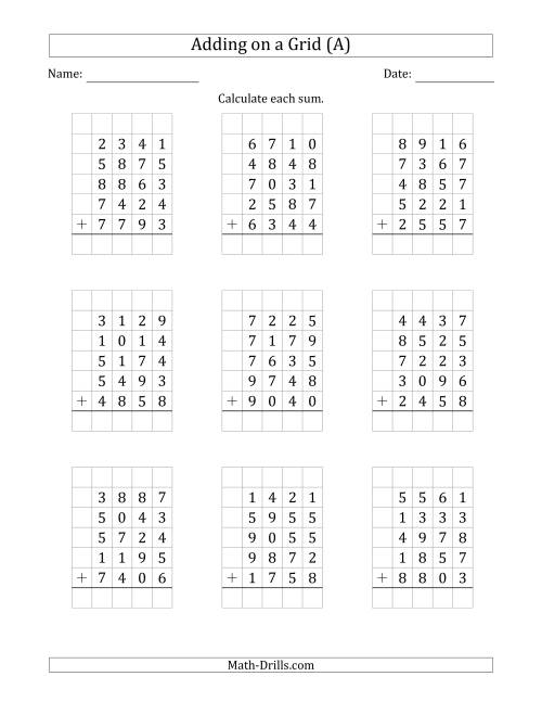 The Adding Five 4-Digit Numbers on a Grid (A) Math Worksheet