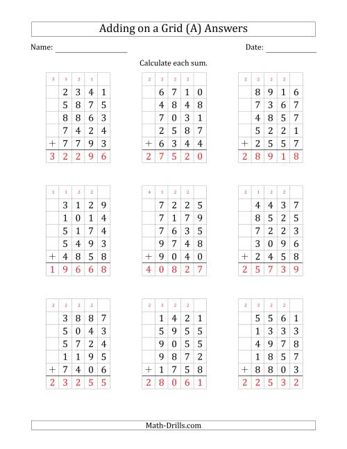 The Adding Five 4-Digit Numbers on a Grid (A) Math Worksheet Page 2