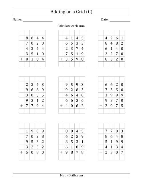 The Adding Five 4-Digit Numbers on a Grid (C) Math Worksheet