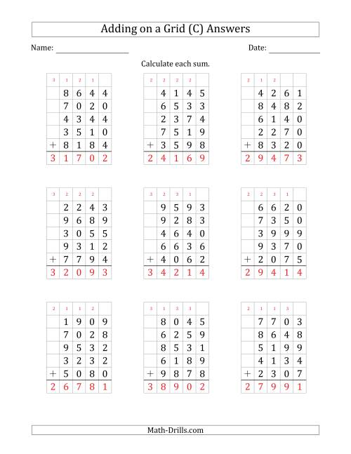 The Adding Five 4-Digit Numbers on a Grid (C) Math Worksheet Page 2