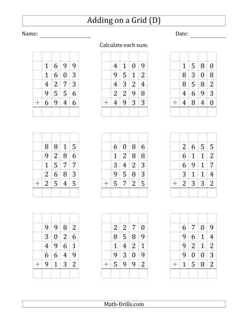 The Adding Five 4-Digit Numbers on a Grid (D) Math Worksheet