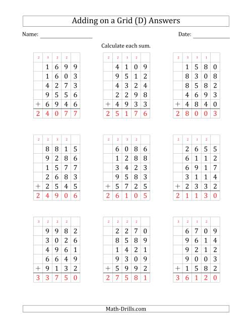 The Adding Five 4-Digit Numbers on a Grid (D) Math Worksheet Page 2