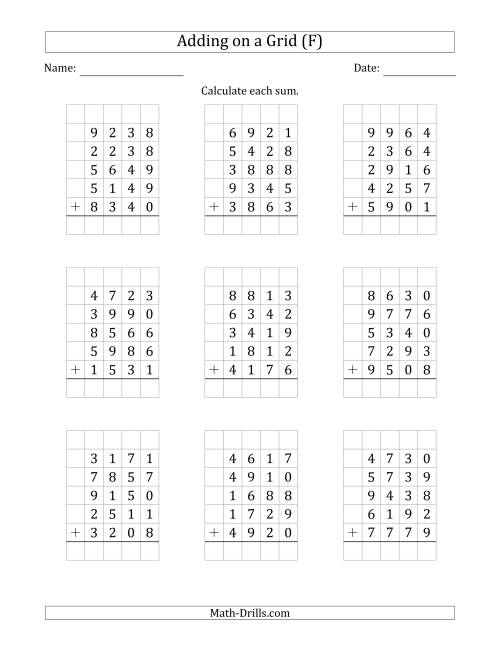 The Adding Five 4-Digit Numbers on a Grid (F) Math Worksheet