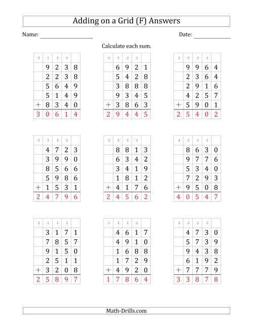 The Adding Five 4-Digit Numbers on a Grid (F) Math Worksheet Page 2