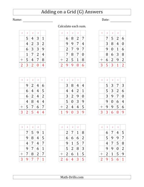The Adding Five 4-Digit Numbers on a Grid (G) Math Worksheet Page 2