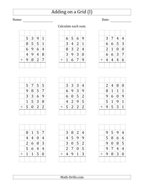 The Adding Five 4-Digit Numbers on a Grid (I) Math Worksheet