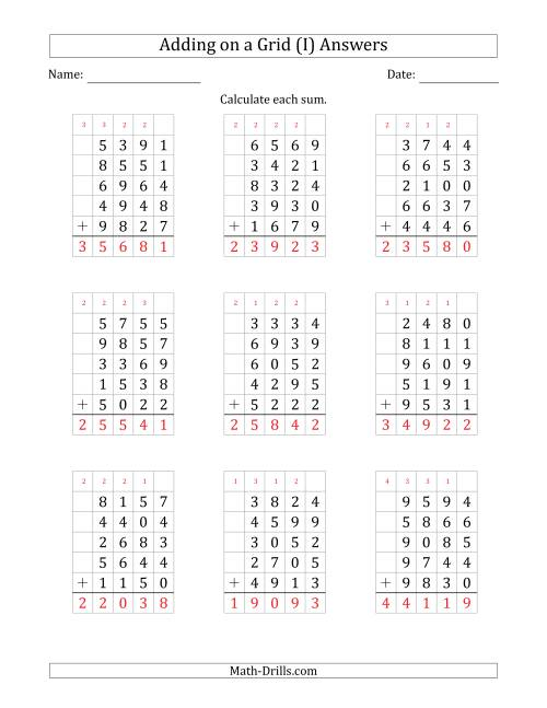 The Adding Five 4-Digit Numbers on a Grid (I) Math Worksheet Page 2
