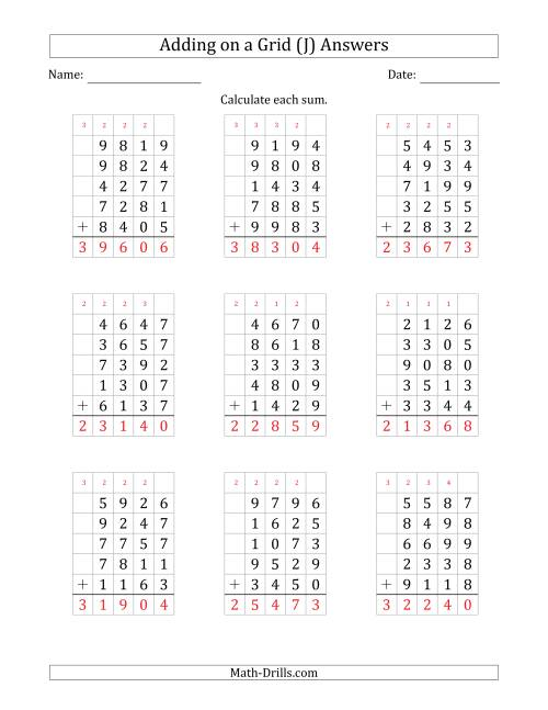 The Adding Five 4-Digit Numbers on a Grid (J) Math Worksheet Page 2
