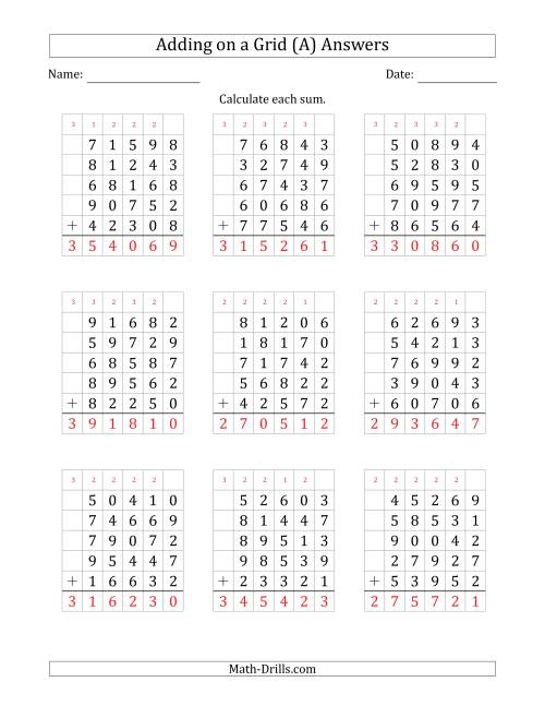 The Adding Five 5-Digit Numbers on a Grid (A) Math Worksheet Page 2