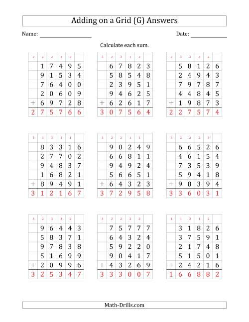 The Adding Five 5-Digit Numbers on a Grid (G) Math Worksheet Page 2