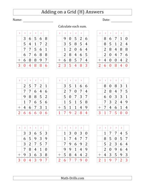 The Adding Five 5-Digit Numbers on a Grid (H) Math Worksheet Page 2
