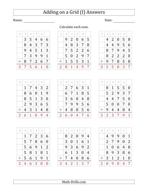 The Adding Five 5-Digit Numbers on a Grid (I) Math Worksheet Page 2
