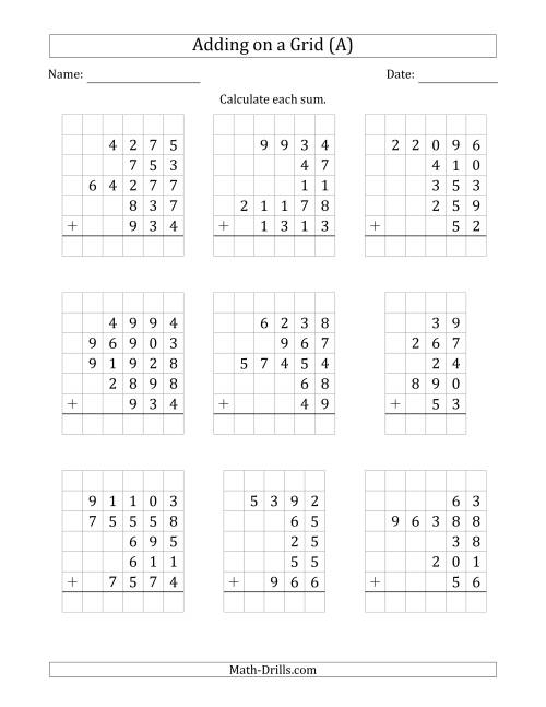 The Adding Five Various-Digit Numbers on a Grid (A)