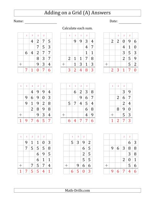 The Adding Five Various-Digit Numbers on a Grid (A) Math Worksheet Page 2