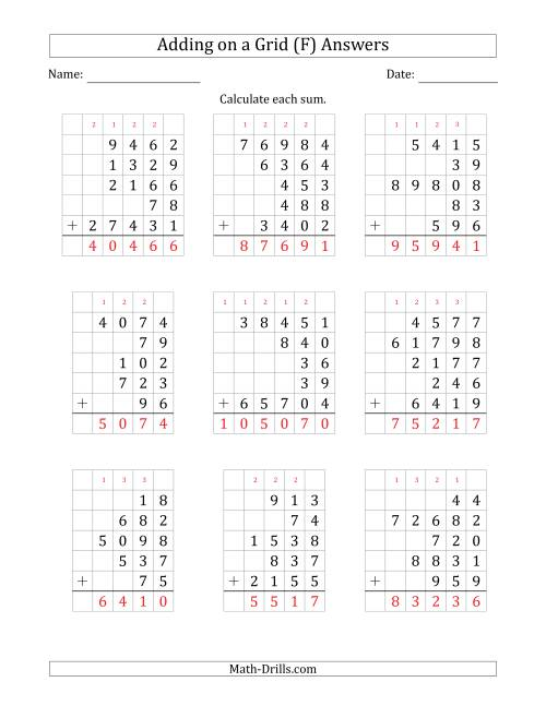 The Adding Five Various-Digit Numbers on a Grid (F) Math Worksheet Page 2