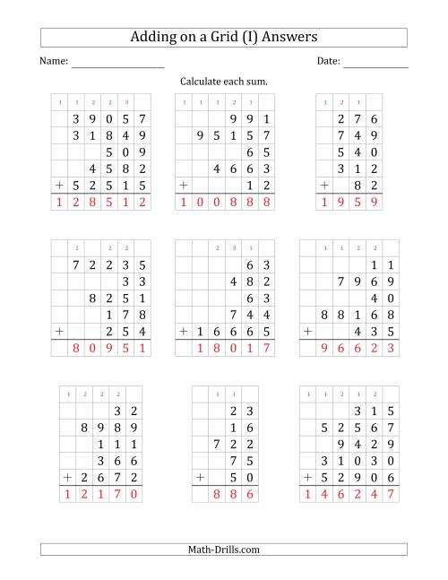The Adding Five Various-Digit Numbers on a Grid (I) Math Worksheet Page 2