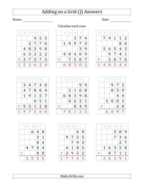 The Adding Five Various-Digit Numbers on a Grid (J) Math Worksheet Page 2