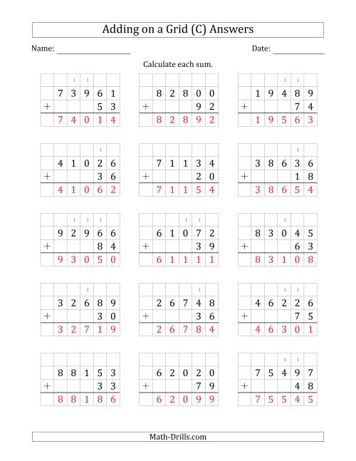 The Adding 5-Digit Plus 2-Digit Numbers on a Grid (C) Math Worksheet Page 2