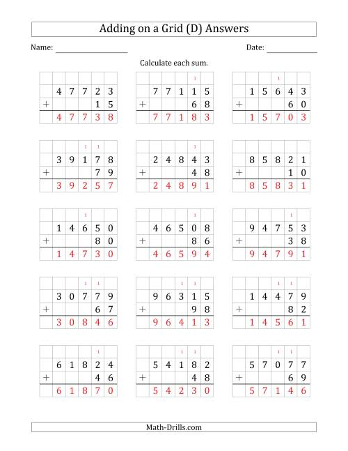 The Adding 5-Digit Plus 2-Digit Numbers on a Grid (D) Math Worksheet Page 2