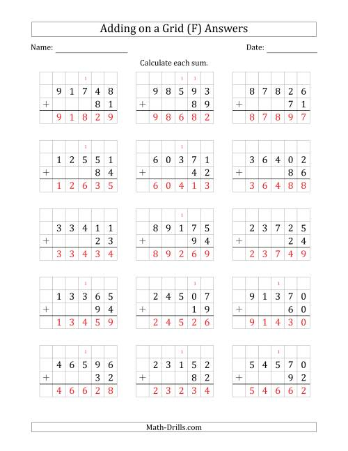 The Adding 5-Digit Plus 2-Digit Numbers on a Grid (F) Math Worksheet Page 2