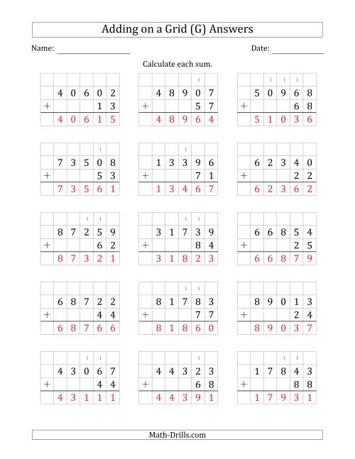 The Adding 5-Digit Plus 2-Digit Numbers on a Grid (G) Math Worksheet Page 2