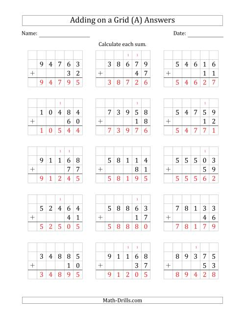 The Adding 5-Digit Plus 2-Digit Numbers on a Grid (All) Math Worksheet Page 2