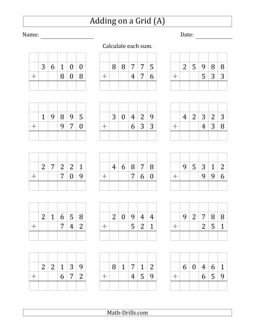 The Adding 5-Digit Plus 3-Digit Numbers on a Grid (A) Math Worksheet