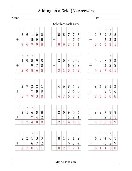 The Adding 5-Digit Plus 3-Digit Numbers on a Grid (A) Math Worksheet Page 2