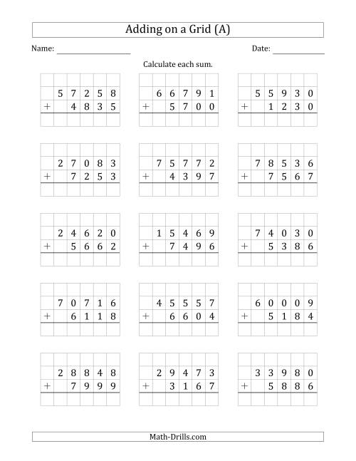 The Adding 5-Digit Plus 4-Digit Numbers on a Grid (A) Math Worksheet