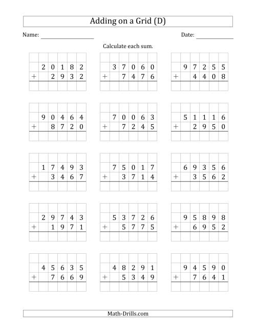 The Adding 5-Digit Plus 4-Digit Numbers on a Grid (D) Math Worksheet