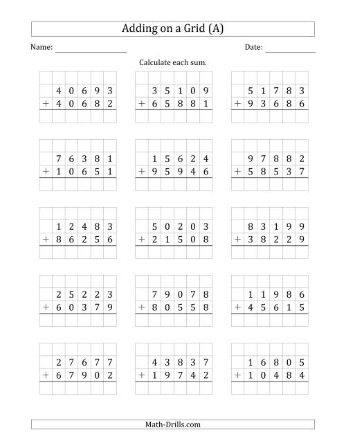 The Adding 5-Digit Plus 5-Digit Numbers on a Grid (A) Math Worksheet