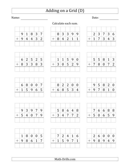 The Adding 5-Digit Plus 5-Digit Numbers on a Grid (D) Math Worksheet