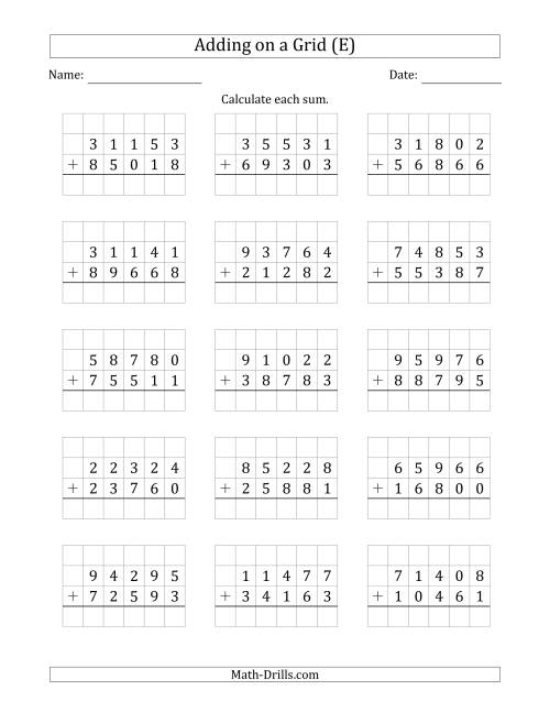 The Adding 5-Digit Plus 5-Digit Numbers on a Grid (E) Math Worksheet