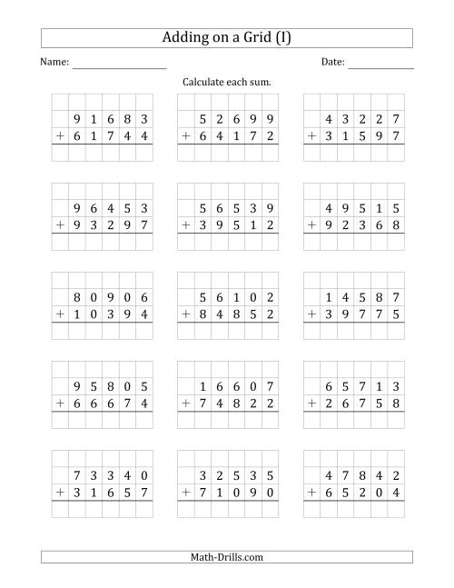 The Adding 5-Digit Plus 5-Digit Numbers on a Grid (I) Math Worksheet