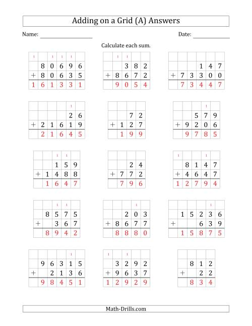 The Adding Two Addends with Various Digits on a Grid (A) Math Worksheet Page 2