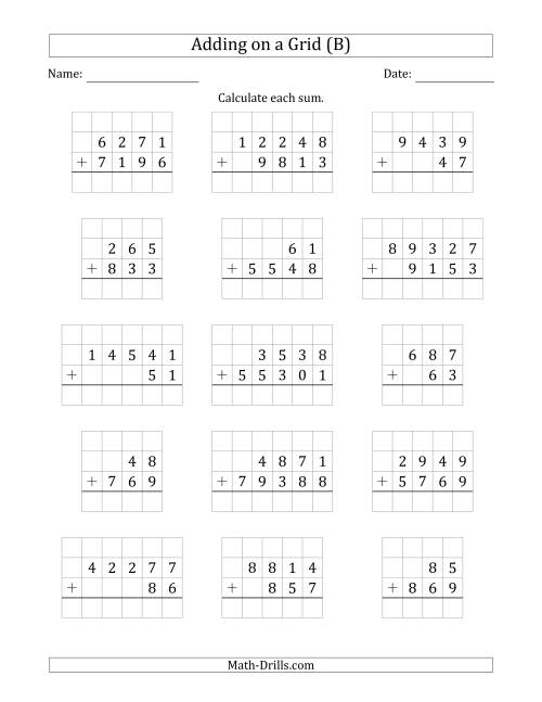 The Adding Two Addends with Various Digits on a Grid (B) Math Worksheet