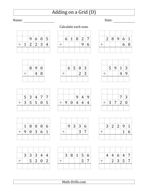 The Adding Two Addends with Various Digits on a Grid (D) Math Worksheet
