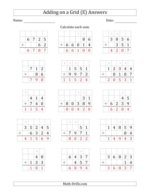 The Adding Two Addends with Various Digits on a Grid (E) Math Worksheet Page 2