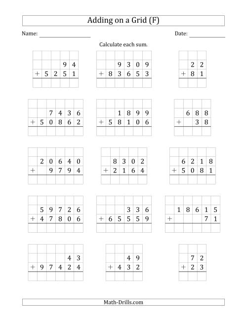 The Adding Two Addends with Various Digits on a Grid (F) Math Worksheet