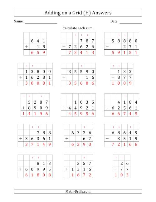 The Adding Two Addends with Various Digits on a Grid (H) Math Worksheet Page 2