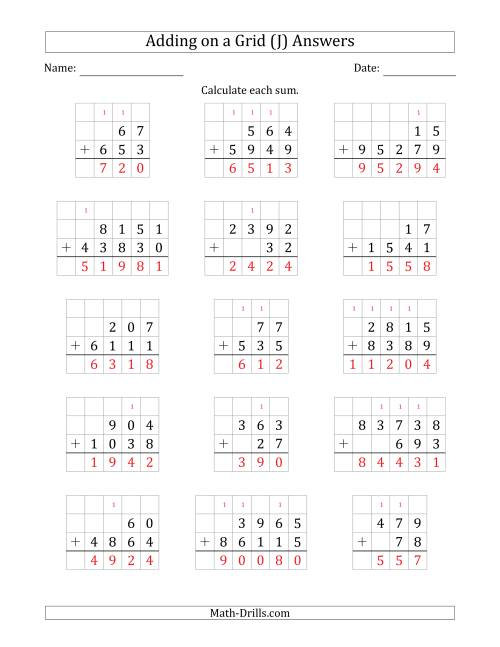 The Adding Two Addends with Various Digits on a Grid (J) Math Worksheet Page 2