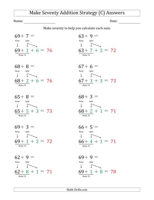 The Make Seventy Addition Strategy (C) Math Worksheet Page 2