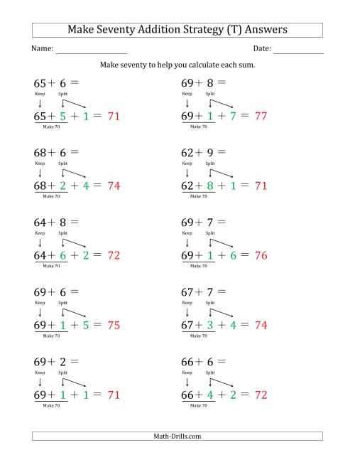The Make Seventy Addition Strategy (T) Math Worksheet Page 2