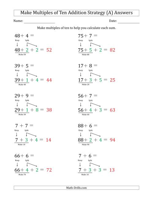 The Make Multiples of Ten Addition Strategy (A) Math Worksheet Page 2