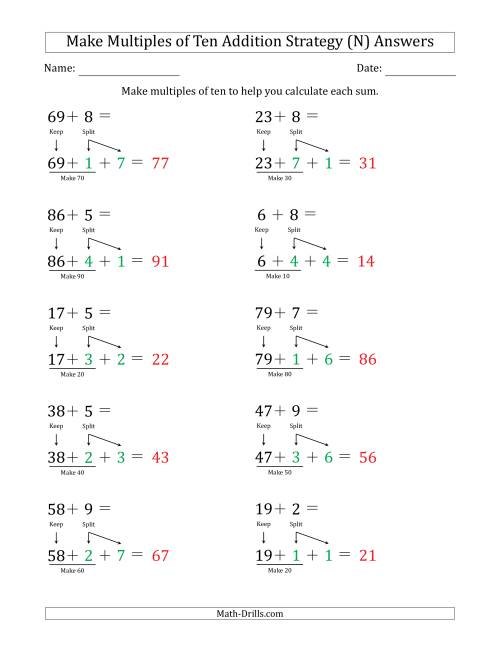 The Make Multiples of Ten Addition Strategy (N) Math Worksheet Page 2