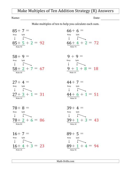 The Make Multiples of Ten Addition Strategy (R) Math Worksheet Page 2