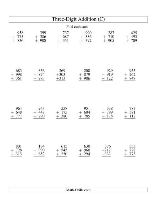 The Column Addition -- Three Three-Digit Numbers (C) Addition Worksheet
