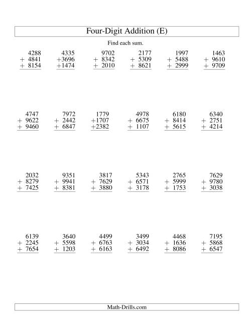 The Column Addition -- Three Four-Digit Numbers (E) Addition Worksheet